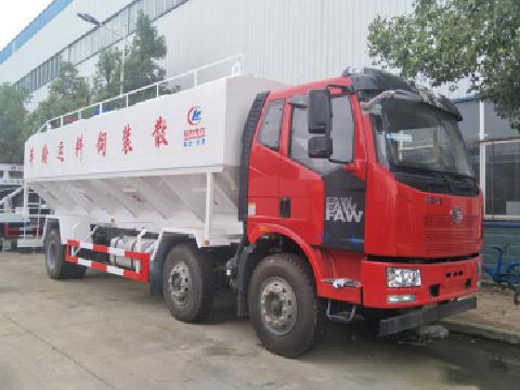 解放3轴散装饲料运输车